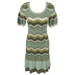 M MISSONI Size 10 Green Cotton Blend Chevron Print Textured Knit Dress