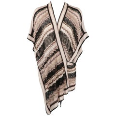 MISSONI Size S Black Taupe & Pink Viscose Sik Blend Mesh Wrap Pullover