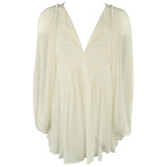 CHLOE Size 8 Cream Silk Crepe Embroidered Baloon Sleeve Tunic Blouse