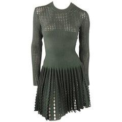 ALAIA Size 4 Green & Gray Wool Blend Mesh Pleated Skirt Long Sleeve Dress