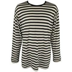 YOHJI YAMAMOTO Size L Black & White Stripe YOHJI HOMME Long Sleeve T Shirt