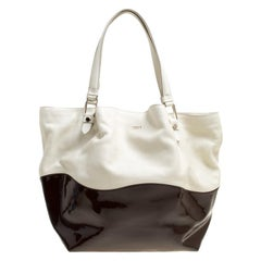 Tod's White/Brown Leather and Patent Leather Medium Flower Tote