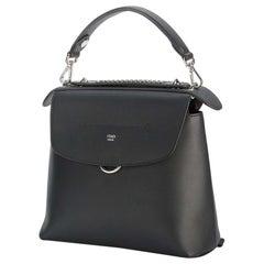 Fendi Black Leather Back To School Backpack