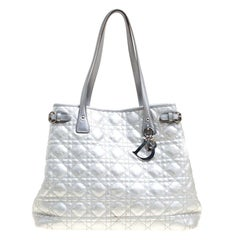 Dior Silver Coated Canvas Medium Panarea Shopper Tote