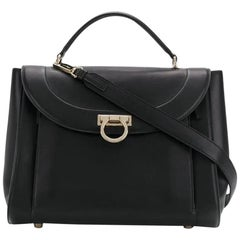 Ferragamo Black Leather Sofia Satchel
