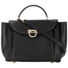 Ferragamo Black Small Leather Sofia Satchel