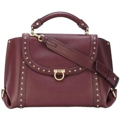 Ferragamo Red Medium Studded Leather Sofia Satchel