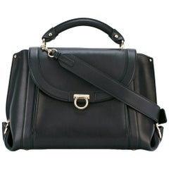 Ferragamo Black Medium Soft Leather Sofia Satchel