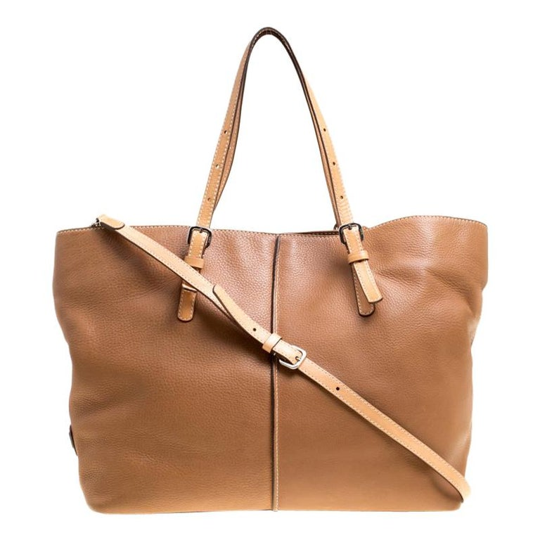 Tod's Brown Leather Grande Shopping Tote For Sale