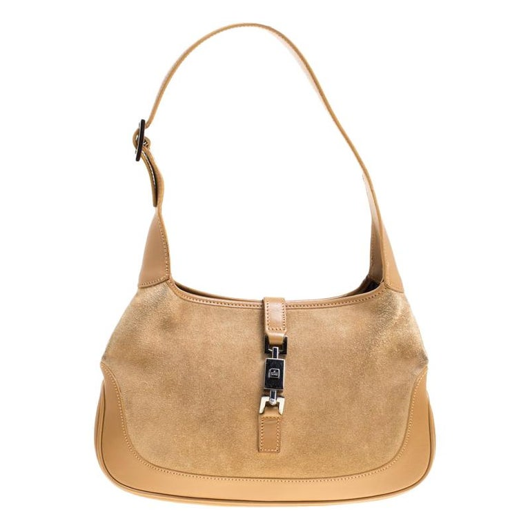 b2862a540 Gucci Brown Suede and Leather Jackie Shoulder Bag For Sale at 1stdibs