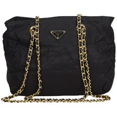 Prada Black Nylon Chain Shoulder Bag