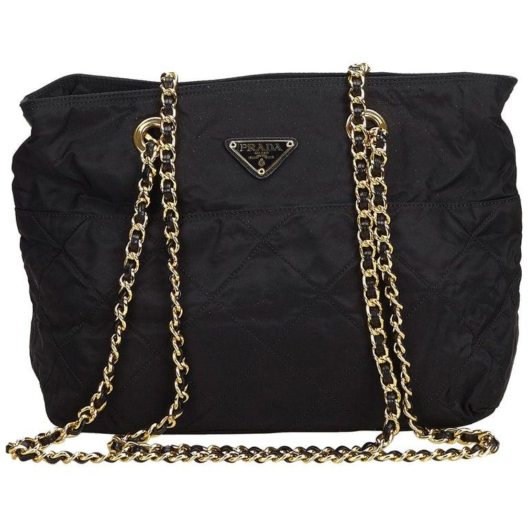 fcaf33d6a9fe Prada Black Nylon Chain Shoulder Bag at 1stdibs