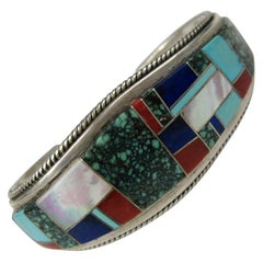 Sterling Silver Turquoise Lapis Coral Cuff Native American Zuni Bracelet