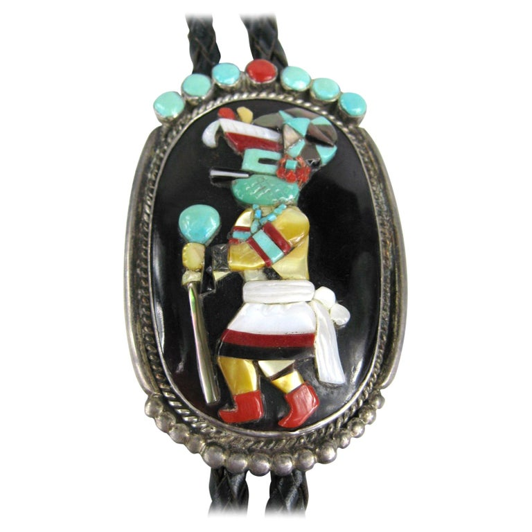 Sterling Silver Native American Turquoise & Coral Zuni Dancer Bolo Tie 1970s For Sale