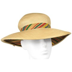 1960s Givenchy Straw Wide Brim Hat Vintage Bonwitt Teller