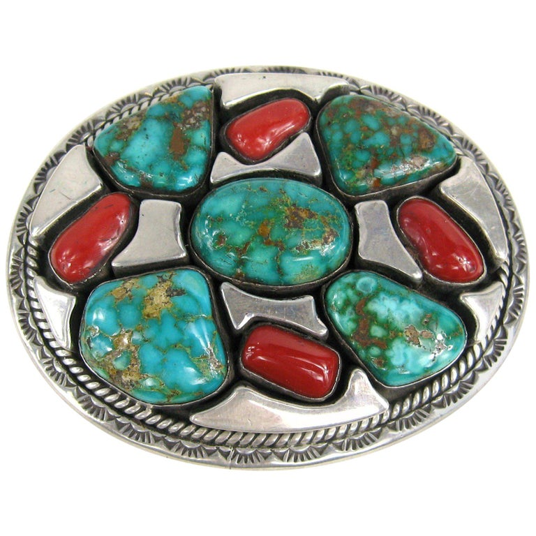 Sterling Silver Native American Turquoise and Coral Belt Buckle by Vandever For Sale