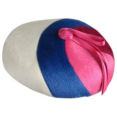 1960s Beret Hat Pink Burgundy Blue and White