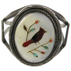 Southwestern Zuni Inlaid Turquoise Coral Bracelet 1960s Native American Jewelry