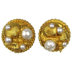 Dominique Aurientis Gold Gilt Sea shell Earrings  New, Never Worn 1980s