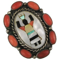 Zuni Native American Apache Gan Coral / Turquoise Sterling Ring
