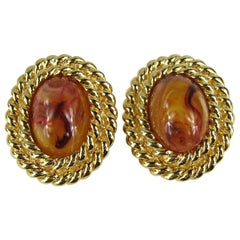 Ciner Faux amber Clip On earrings New, Never Worn 1980s