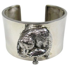 Sterling Silver Cuff BEAR Fish Bracelet Carol Felley Never worn 1990s
