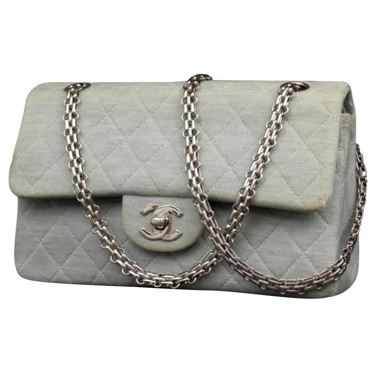a76cf1b27fcd Chanel Mademoiselle Classic Flap Quilted 230643 Blue Cotton Shoulder Bag  For Sale