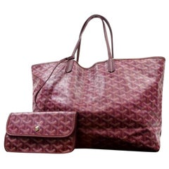 Goyard Bordeaux Goyardine Chevron St Louis with Pouch 230088 Burgundy Tote