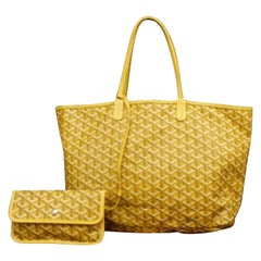 Goyard Goyardine Chevron St Louis with Pouch 230669 Yellow Coated Canvas Tote