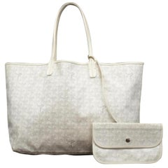 Goyard Goyardine Chevron St Louis with Pouch 231620 White Coated Canvas Tote