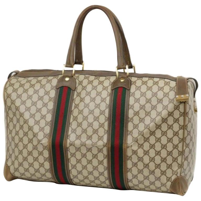 772b241037b Gucci Boston Sherry Monogram Web Duffle 230431 Brown Weekend Travel Bag For  Sale