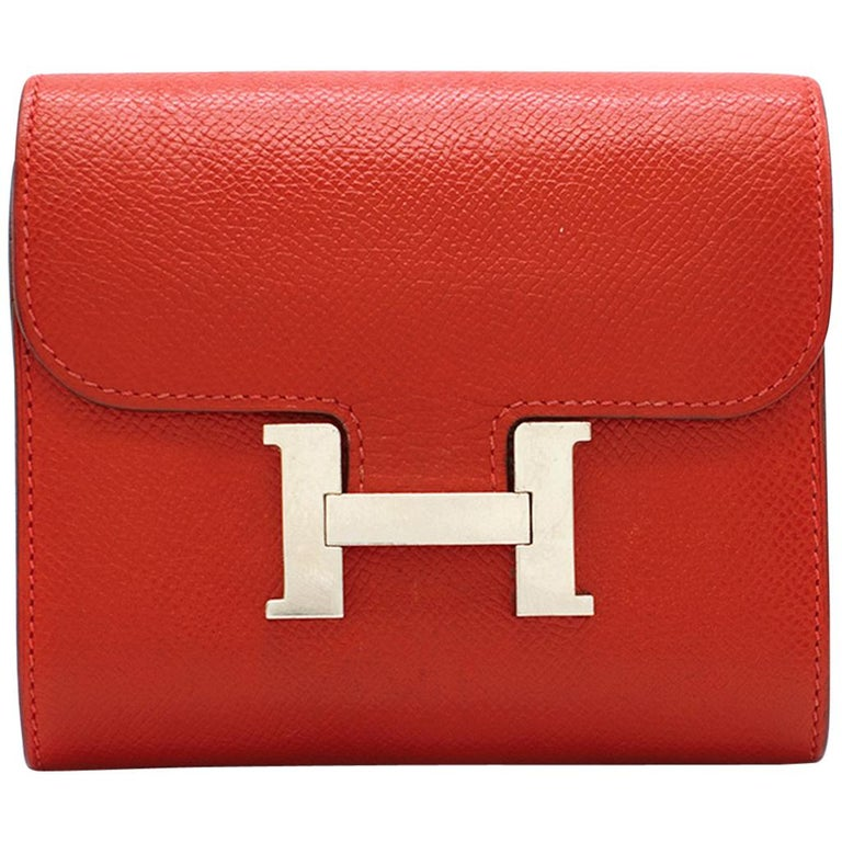 243f8682237b Hermes Constance Compact Rouge Epsom Leather Wallet at 1stdibs