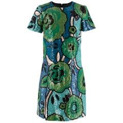 Burberry Runway green sequin-embellished shift dress US 2
