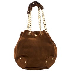 Burberry Brown Suede Bucket Bag