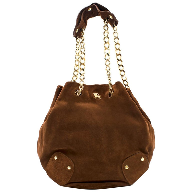 d525ad37d6f5 Burberry Brown Suede Bucket Bag For Sale at 1stdibs