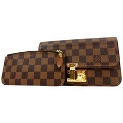 Louis Vuitton Damier Ebene Ascot Wallet 231368 Brown Coated Canvas Clutch
