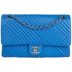 2016 Chanel Blue Chevron Quilted Lambskin Large CC Crossing Flap Bag