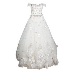 Justin Alexander Signature Floral Embroidered Embellished Tulle Wedding Gown M