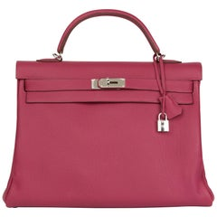 2012 Hermes Tosca Clemence Leather Kelly 40cm Retourne
