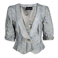 Giorgio Armani Grey Floral Jacquard Silk Embellished Cropped Jacket L