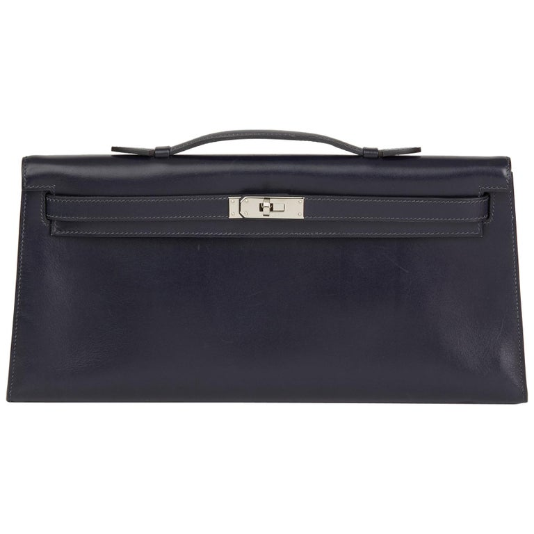 2006 Hermes Navy Box Calf Leather Kelly Longue Clutch For Sale