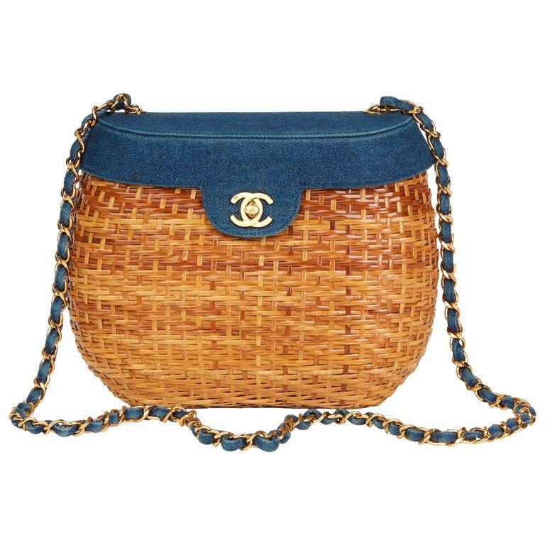 64d327607359 1997 Chanel Blue Denim and Woven Straw  Picnic  Vintage Basket Bag ...