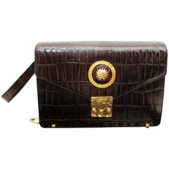 Versace Clutch 230602 Brown Crocodile Skin Leather Wristlet