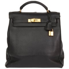 1996 Hermes Black Togo Leather Vintage Kelly Ado Backpack