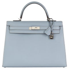 2013 Hermes Blue Lin Epsom Leather Kelly 35cm Sellier