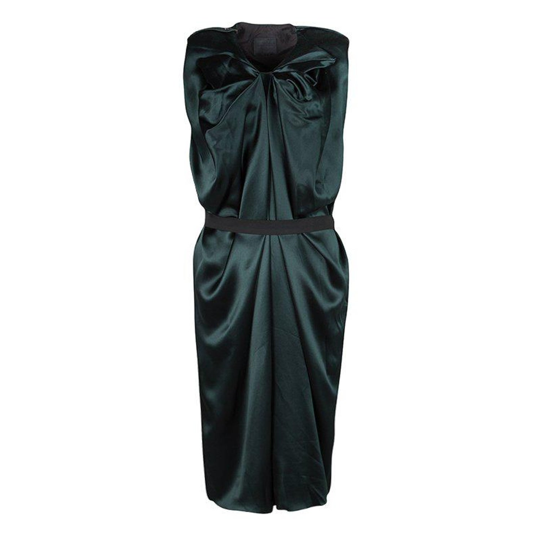 b36cc20b747f Lanvin Green Silk Draped Elastic Band Detail Sleeveless Dress M For Sale at  1stdibs
