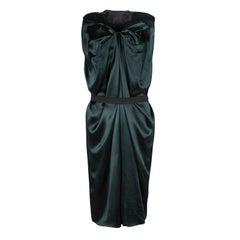 Lanvin Green Silk Draped Elastic Band Detail Sleeveless Dress M