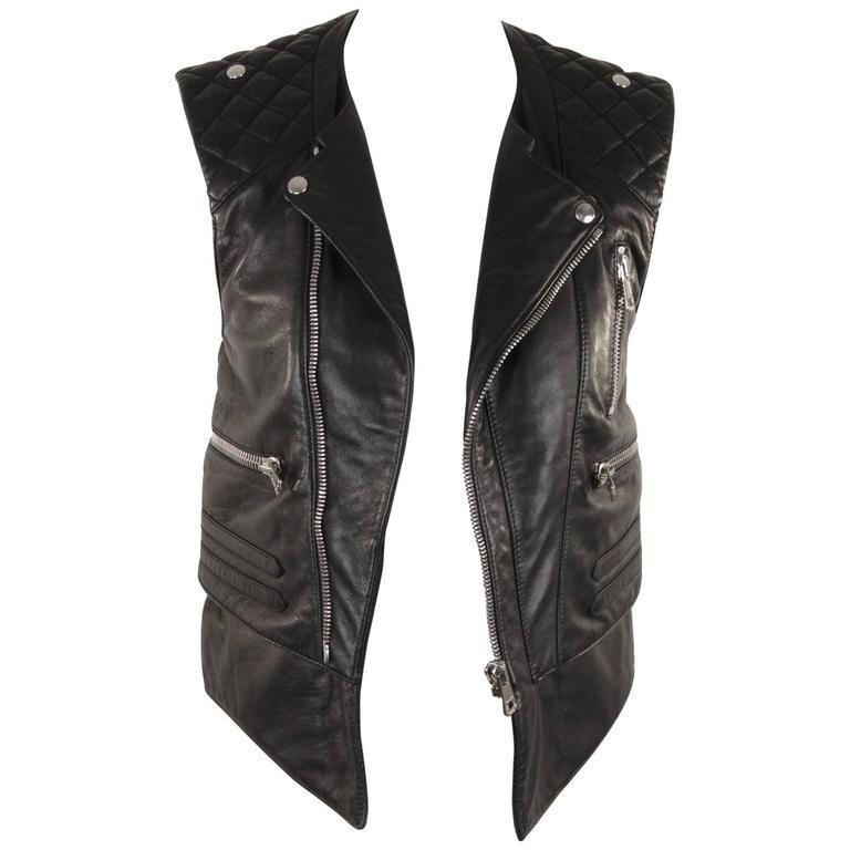 best website durable in use cheap price Balenciaga Black Leather Biker Moto Gilet Vest Sleeveless ...