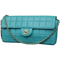 Chanel East West Teal Chocolate Bar Quilted Chain Flap 231201 Shoulder Bag