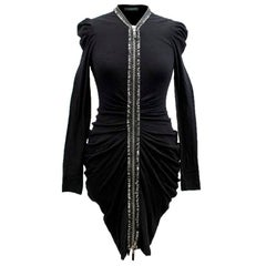 Alexander McQueen Black Ruched Zip Dress US 2